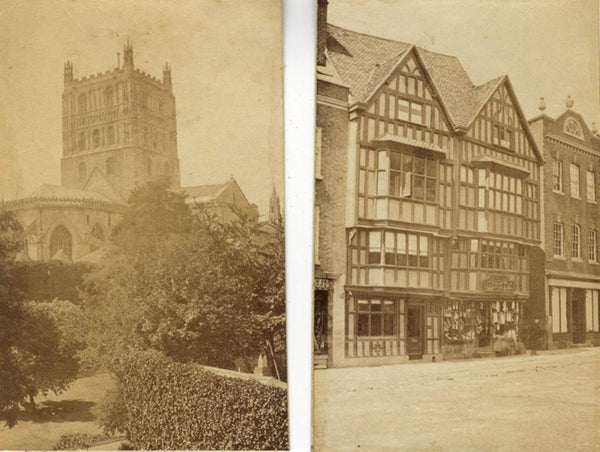 Attrib. Philip Henry Delamotte Tewkesbury Abbey High Street 1860s albumen prints