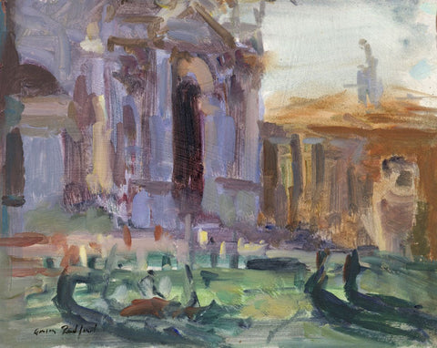 Gordon Radford, Gondoliers off the Venice Waterfront - Oil painting on board