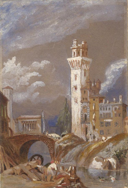 Attrib. Samuel Prout, Watchtower by River, Italy -Early 19th-century watercolour