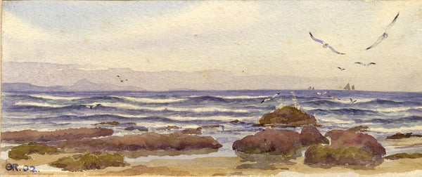 A.K. Rudd, Coastal Seascape with Seagulls - Original 1902 watercolour painting