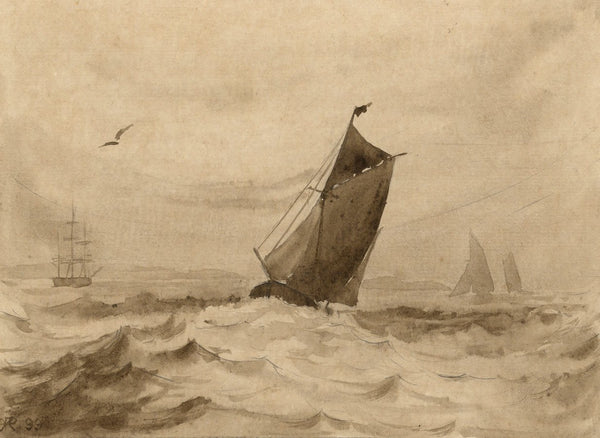 A.K. Rudd, Grisaille Sailboat on Rough Seas - Original 1899 watercolour painting