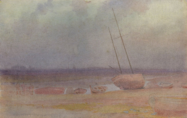 A.K. Rudd, Fishermen & Beached Boats - Late 19th-century watercolour painting