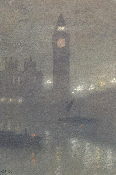 A.K. Rudd, Big Ben at Night, Thames London - Original 1903 watercolour painting