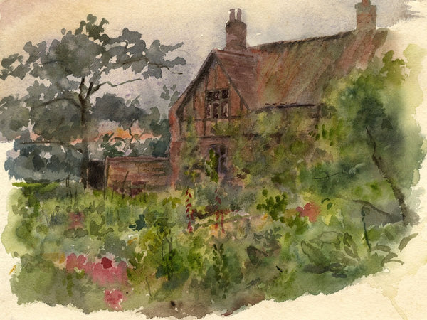 A.K. Rudd, Tudor Manor House Garden - Late 19th-century watercolour painting