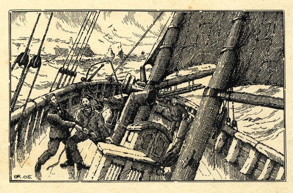 A.K. Rudd, Sailors on Deck, Stormy Seas - Original 1905 pen & ink drawing