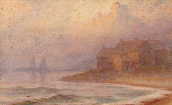 A.K. Rudd, Coastal Cottages at Dusk - Original 19th-century watercolour painting