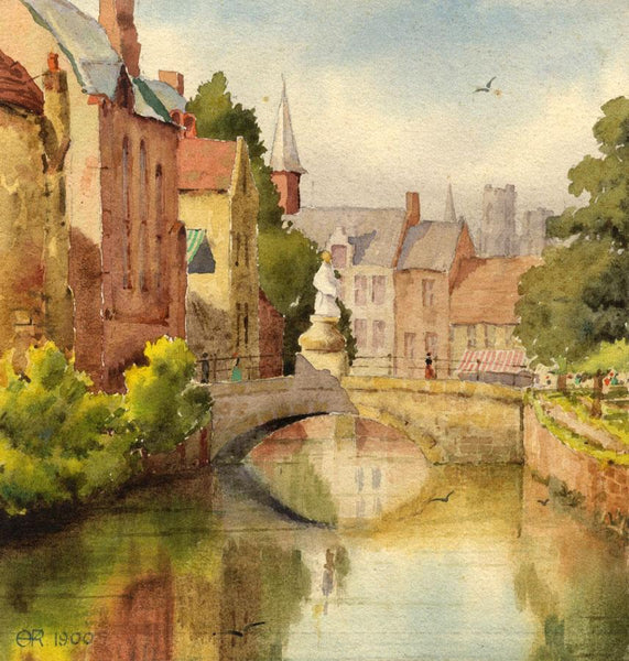 A.K. Rudd, Town Bridge View with Figure - Original 1900 watercolour painting