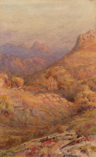 A.K. Rudd, Sunset Mountain View  - Original 1912 watercolour painting