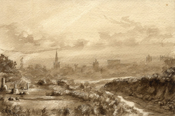 A.K. Rudd, Norwich Cathedral View in Sepia - Original 1895 watercolour painting