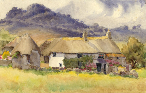 A.K. Rudd, Thatched Cottages in Summer - Late 19th-century watercolour painting