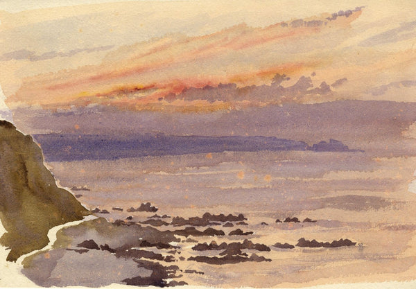A.K. Rudd, Coastal Sunset Study -Original late 19th-century watercolour painting