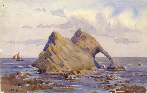 A.K. Rudd, Peaked Coastal Rock Formations - Original 1901 watercolour painting