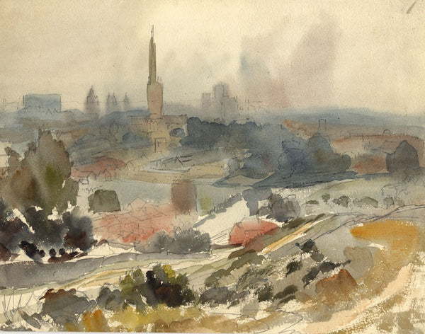 A.K. Rudd, Norwich Catherdral City View - Late 19th-century watercolour painting