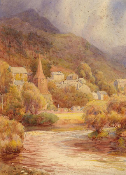 A.K. Rudd, German River Village in Autumn - Original 1912 watercolour painting