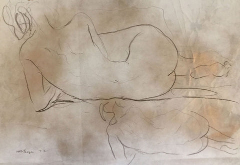 Derrick Latimer Sayer, Reclining Female Nude Study - Original 1972 chalk drawing