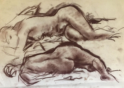 Derrick Latimer Sayer, Sleeping Female Nude Study-Original 1980 charcoal drawing