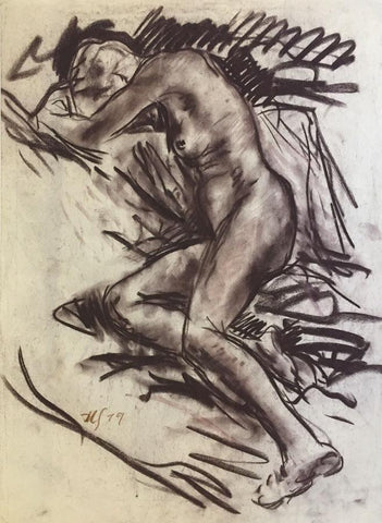 Derek Latimer Sayer, Reclining Female Nude -Original 1979 charcoal drawing