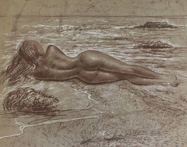 Derrick Latimer Sayer, Female Nude Beach Study - Original 1970s chalk drawing