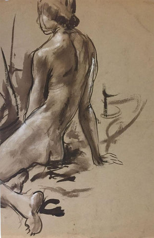 Derek Latimer Sayer, Seated Female Nude Study- Original 1970s indian ink drawing