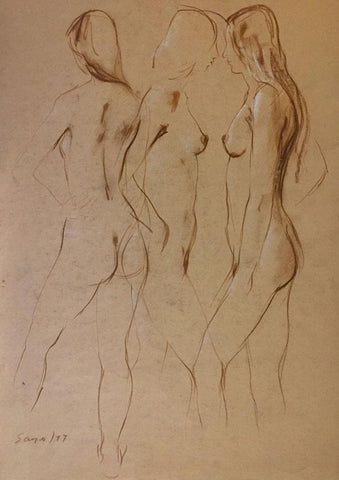 Derek Latimer Sayer, Trio of Standing Female Nudes - 1977 watercolour painting