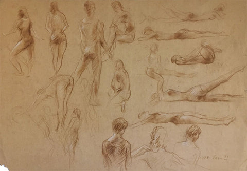 Derrick Latimer Sayer, Dancer in Movement Studies - Original 1978 chalk drawing