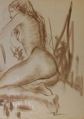 Derrick Latimer Sayer, Resting Female Nude - Original 1970s watercolour painting