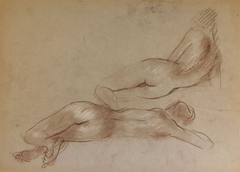 Derrick Latimer Sayer, Sleeping Female Nude - Original 1970s chalk drawing