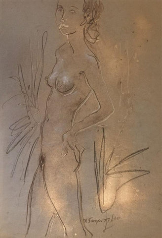 Derek Latimer Sayer, Standing Female Nude in Gold - 1977 mixed media drawing