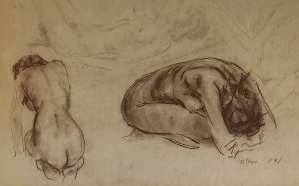 Derrick Latimer Sayer, Reclining Female Nude Study - Original 1979 chalk drawing