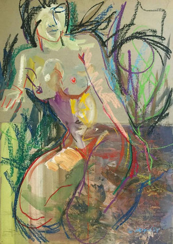 Derek Latimer Sayer, Abstract Seated Female Nude - 1981 mixed media drawing