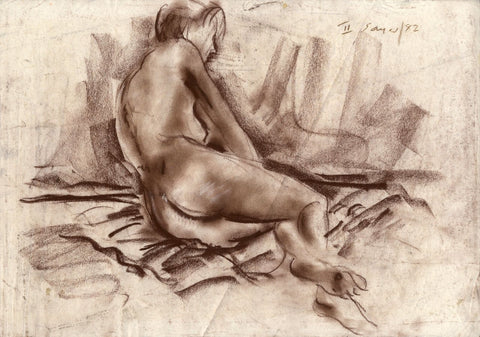 Derrick Latimer Sayer, Side Female Nude Study - Original 1982 chalk drawing