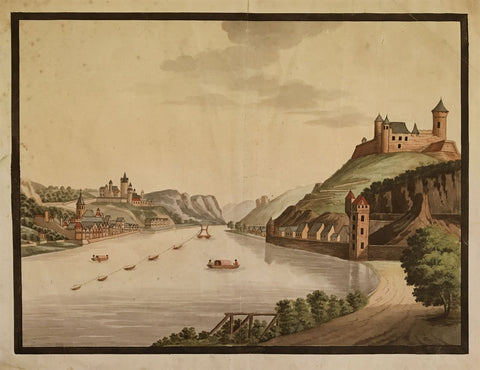 Sankt Goar & Sankt Goarshausen, Rhine Vedute - c.1798 watercolour painting