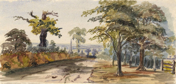 Country Road with Monument - Original 1880s watercolour painting