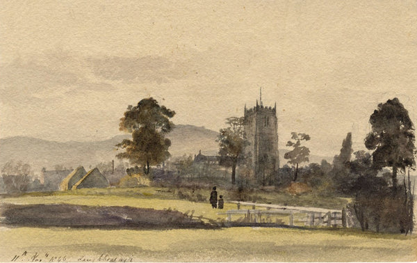 All Saints Church, Loughborough, Leicestershire - 1846 watercolour painting
