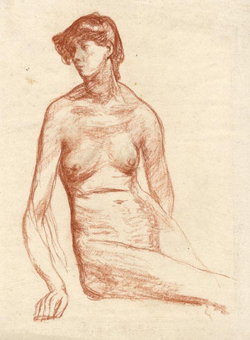 Vernon Wethered, Seated Female Nude Study - Early 20th-century chalk drawing