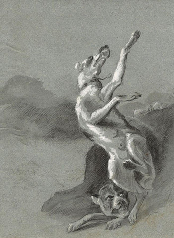 Attrib. Edwin Landseer, Fighting Dogs Study - Early 19th-century chalk drawing