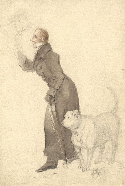 Attrib. William Haines, Gentleman with Dog - Early 19th-century watercolour
