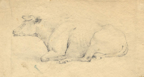 Attrib. Alken, Cow Chewing Cud - Original early 19th-century graphite drawing