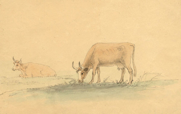 Anthony Devis, Cows Grazing - Original early 19th-century watercolour painting
