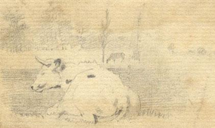 Attrib. Peter De Wint OWS, Cow at Rest - early 19th-century graphite drawing