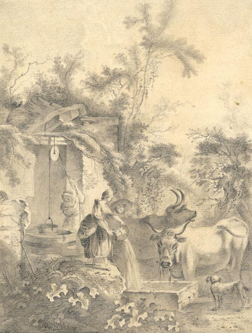 Cattle and Dog at Village Well - Original early 19th-century graphite drawing