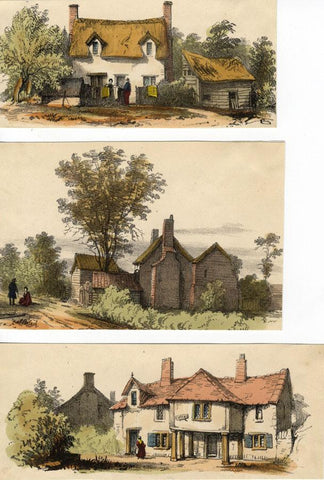 Country Cottages, Three Sheets - Original 1859 hand coloured lithograph