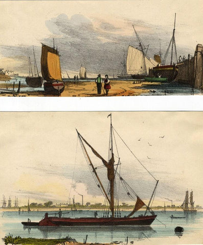 Harbour Sailboats, Two Sheets - Original 1859 hand coloured lithograph