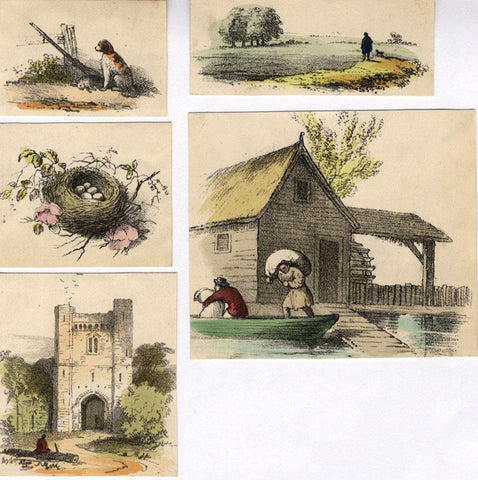 Animals & Architecture, Five Sheets - Original 1859 hand coloured lithograph