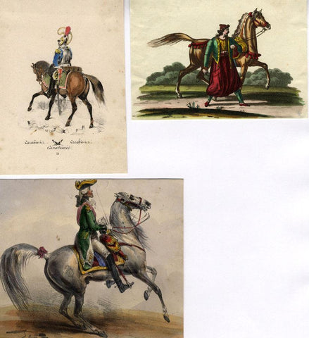 Soldiers on Horseback, Three Sheets - Original 1859 hand coloured lithograph