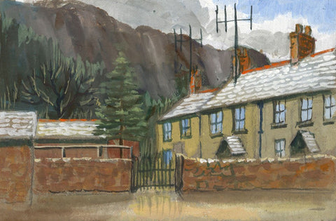Victor Papworth, Houses, Grasmere Village, Lake District - 1970 gouache painting