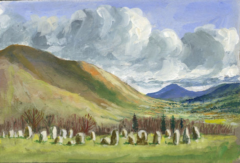 Victor Papworth, Castlerigg Stone Circle, Lake District - 1970 gouache painting