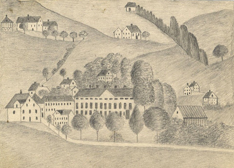 Naive School, Continental Hillside Houses - Original 1880s graphite drawing