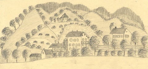 Naive School, Houses at Tegernsee, Germany - Original 1890 graphite drawing