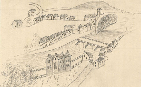 Naive School, Continental Village on River - Original 1880s graphite drawing
